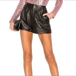 New NBD leather pleated shorts